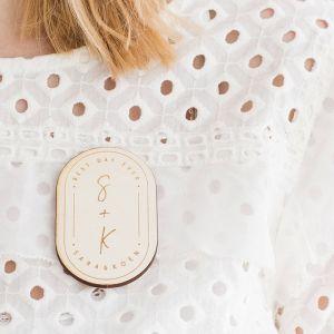 Corsage ovaal modern met initialen