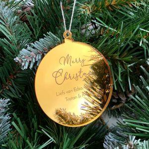 Gepersonaliseerde kersthanger merry christmas takjes