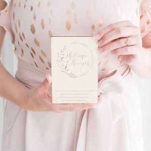 Houten trouwkaart Blush botanics cirkel