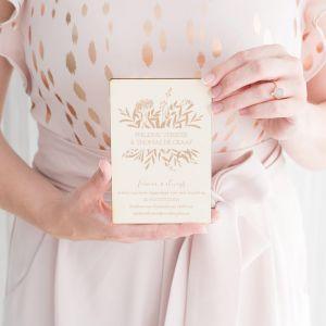 Houten trouwkaart Blush botanics
