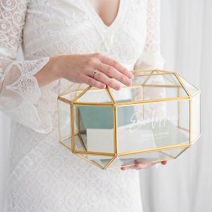 Gepersonaliseerde glazen enveloppendoos geometrisch modern