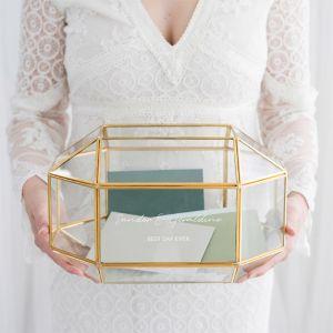 Glazen enveloppendoos geometrisch met namen chique