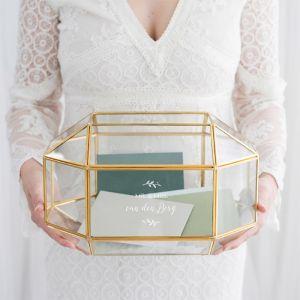 Glazen enveloppendoos geometrisch mr & mrs met takjes