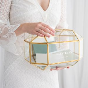 Glazen enveloppendoos geometrisch mr & mrs modern
