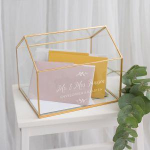 Gepersonaliseerde glazen enveloppendoos huis met takjes