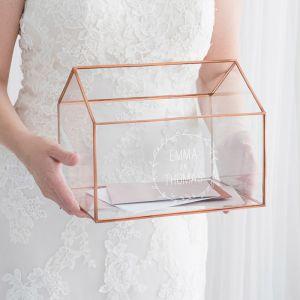 Gepersonaliseerde glazen enveloppendoos huis met krans