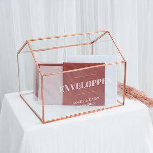 Gepersonaliseerde glazen enveloppendoos huis modern paper