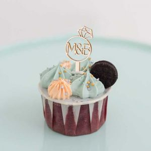Cupcake prikker ring met initialen