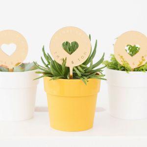 Plantenprikker strak met hartje en namen