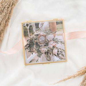 Glazen bewaardoosje goud lovely eucalyptus met namen