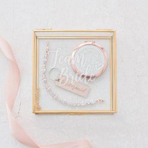 Glazen bewaardoosje goud bruidsmeisje team bride