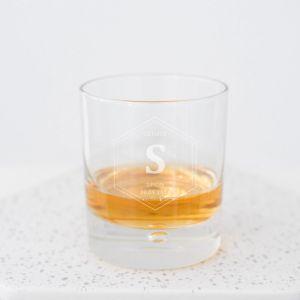 Whiskeyglas getuige met naam hexagon