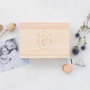 Gepersonaliseerde houten theedoos tea time met naam