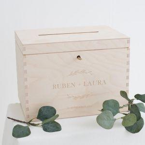 Houten enveloppendoos botanical
