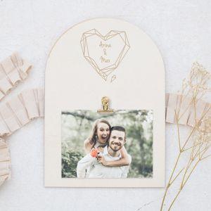 Houten foto clipboard gepersonaliseerd geometric floral