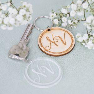 Sleutelhanger rond modern elegance met initialen