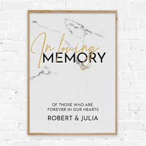 Poster in loving memory marble chique gold