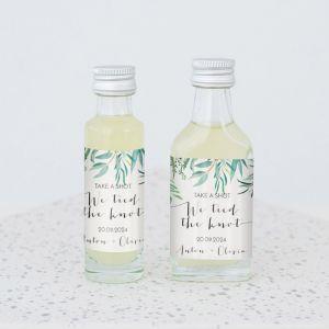 Mini flesje trouwbedankje eucalyptus botanisch