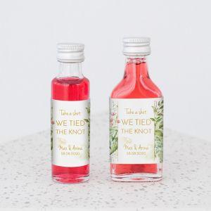 Mini flesje trouwbedankje geometric floral
