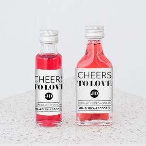 Mini flesje trouwbedankje modern typografisch