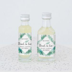 Mini flesje trouwbedankje tropische bladeren