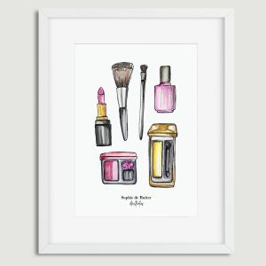 Aquarel illustratie make-up door Sophie de Ruiter