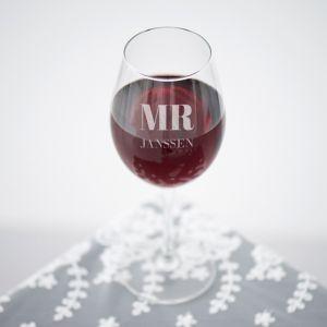 Wijnglas graveren mr and mrs met achternaam