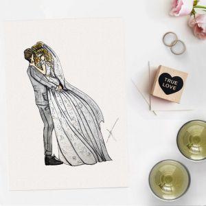 Persoonlijke illustratie bruidspaar door Sophie de Ruiter