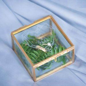 Ringdoosje glas vierkant geometric floral