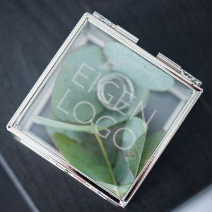 Ringdoosje glas vierkant met eigen logo