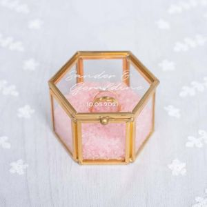 Ringdoosjes glas hexagon rosé goud zilver chique