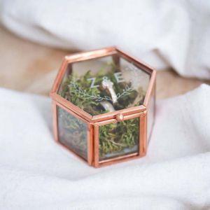 Ringdoosjes glas hexagon rosé goud zilver woodland