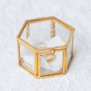 Ringdoosjes glas hexagon rosé goud zilver geometric floral