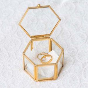 Ringdoosje glas hexagon geometric floral