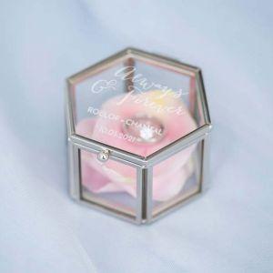 Ringdoosjes glas hexagon rosé goud zilver always & forever