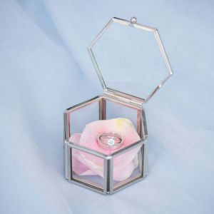 Ringdoosje glas hexagon always & forever