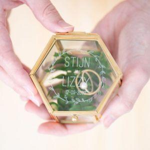 Ringdoosjes glas hexagon rosé goud zilver krans namen