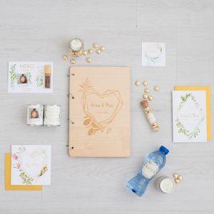 Houten gastenboek geometric floral met namen