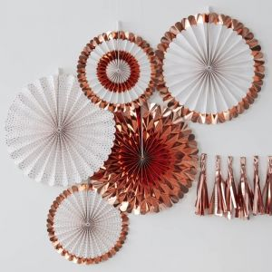 Paperfans roségoud-wit (5st) Pick & Mix Rose Gold