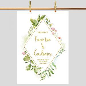 Poster kaarten en cadeaus bruiloft geometric floral