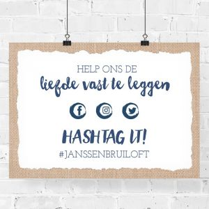 Poster hashtag bruiloft indigo eco