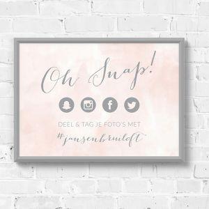 Poster hashtag bruiloft watercolor pastel