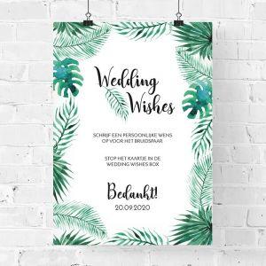 Poster bruiloft gastenboek tropische bladeren