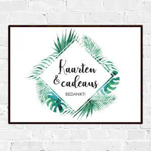 Poster bruiloft kaarten en cadeaus tropische bladeren