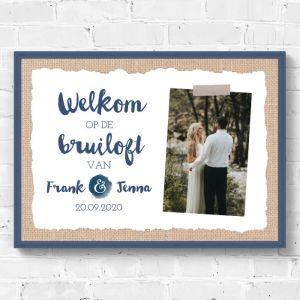 Poster welkom bruiloft indigo eco