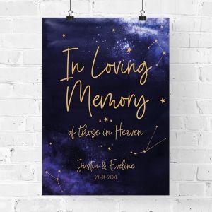 Bruiloft poster in loving memory galaxy