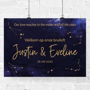 Welkomstposter bruiloft galaxy