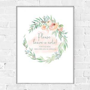 Bruiloft poster gastenboek botanical romance