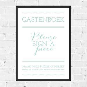 Poster gastenboek mintgroen typografisch