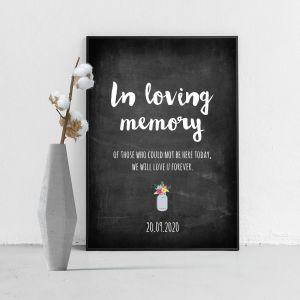 Poster in loving memory krijtbord